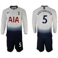Tottenham Hotspur 2018/19 #5 Jan Vertonghen Home Long Sleeve Jersey