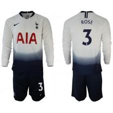 Tottenham Hotspur 2018/19 #3 Danny Rose Home Long Sleeve Jersey