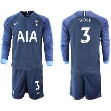 Tottenham Hotspur 2018/19 #3 Danny Rose Away Long Sleeve Jersey