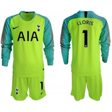 Tottenham Hotspur 2018/19 #1 Hugo Lloris Fluorescent Green Long Sleeve Goalkeeper Jersey