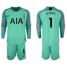 Tottenham Hotspur 2018/19 #1 Hugo Lloris Green Goalkeeper Long Sleeve Jersey