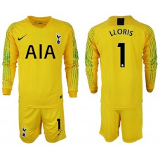 Tottenham Hotspur 2018/19 #1 Hugo Lloris Yellow Goalkeeper Long Sleeve Jersey