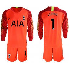 Tottenham Hotspur 2018/19 #1 Hugo Lloris Red Goalkeeper Long Sleeve Jersey
