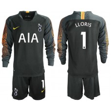 Tottenham Hotspur 2018/19 #1 Hugo Lloris Black Long Sleeve Goalkeeper Jersey