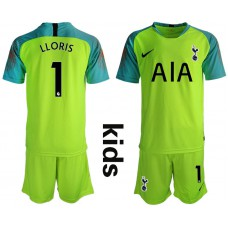 Youth - Tottenham Hotspur 2018/19 #1 Hugo Lloris Fluorescent Green Goalkeeper Jersey