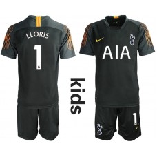 Youth - Tottenham Hotspur 2018/19 #1 Hugo Lloris Black Goalkeeper Jersey