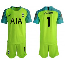 Tottenham Hotspur 2018/19 #1 Hugo Lloris Fluorescent Green Goalkeeper Jersey