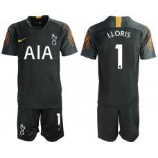Tottenham Hotspur 2018/19 #1 Hugo Lloris Black Goalkeeper Jersey