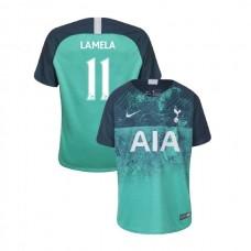 YOUTH - Tottenham Hotspur 2018/19 Third #11 Erik Lamela Green Authentic Jersey