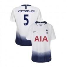 YOUTH - Tottenham Hotspur 2018/19 Home #5 Jan Vertonghen White Authentic Jersey