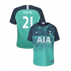 YOUTH - Tottenham Hotspur 2018/19 Third #21 Juan Foyth Green Authentic Jersey